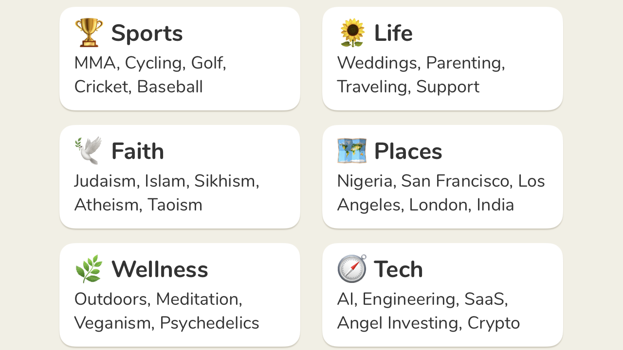 A screenshot of the different topics you can follow in the new clubhouse app
