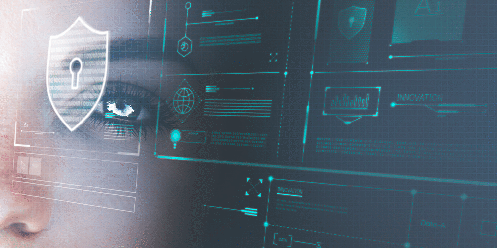 A cyber security scene with a womans face overlaid on a computer screen